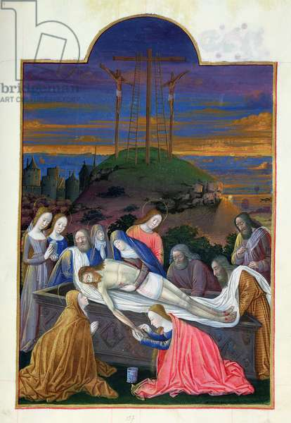Ms 65/1284 f.157r The Entombment of Christ with the Virgin, St. John, Mary Magdalene, Nicodemus, Joseph of Arimathea, from Tres Riches Heures du Duc de Berry, early 15th century (vellum)