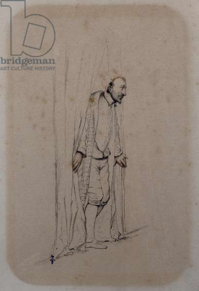 Study for 'The Assassination of the Duc de Guise', 1834 (pen & ink and pencil and red chalk on paper)
