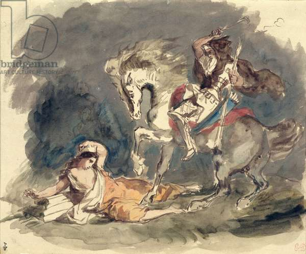 Attila the Hun (c.406-453) overrunning Italy and the Arts, study for the fresco in the Palais-Bourbon (w/c on paper)