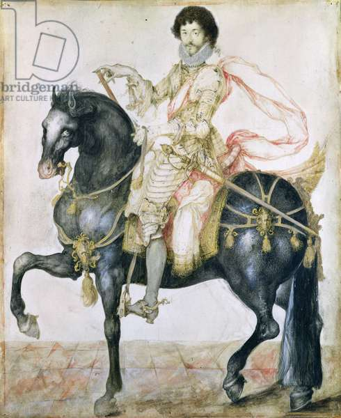 Equestrian Portrait of Henri II (1595-1632) de Montmorency (w/c on paper)