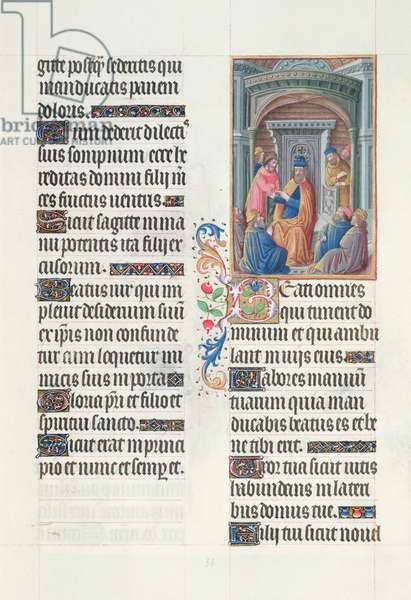 Ms. 65/1284 fol. 56r Psalm 127, David and his Subjects, from 'Très Riches Heures du Duc de Berry' (vellum)
