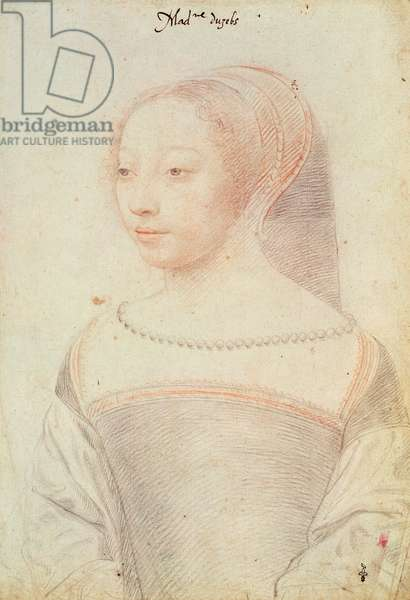 Louise de Clermont-Tallard (c.1518-c.1596) Duchess of Uzes, c.1535 (pencil & red chalk on paper)
