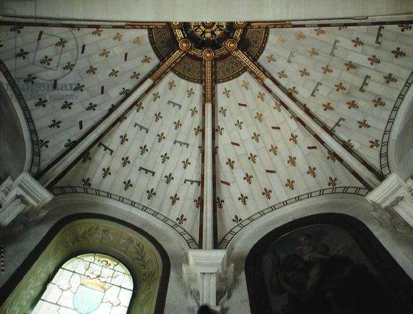 View of the ceiling of the vault in the chapel (painted plaster)