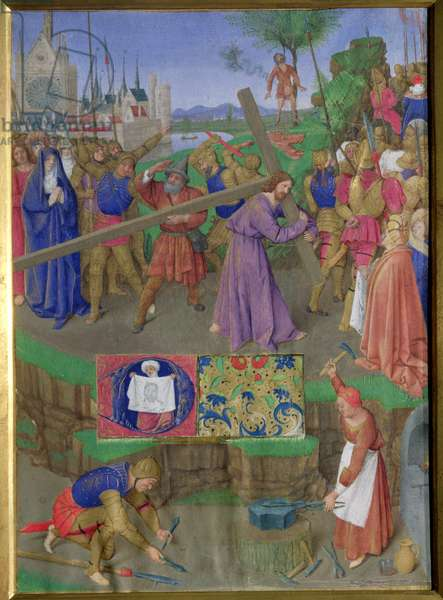 Ms Fr 71 f.18 Carrying the Cross, from the Hours of Etienne Chevalier, c.1445 (vellum)