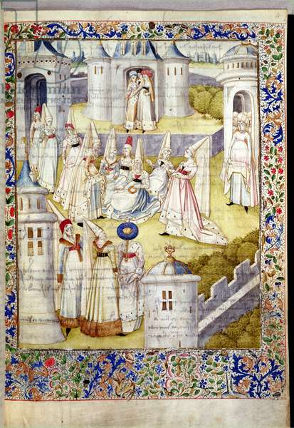 Ms.856/562 fol.1 The Meeting of women, from 'La Cite des Dames' by Christine de Pisan (c.1365-1430?) (vellum)