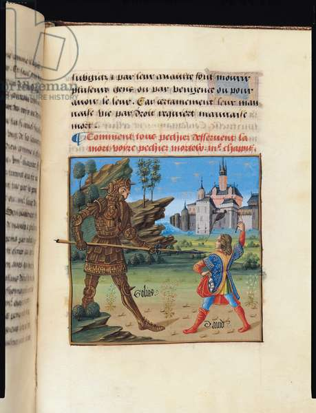 Ms 297/1338 fol.135r David and Goliath, from the Book of Good Morals, by Jacques le Grant (1360-1415) (vellum)