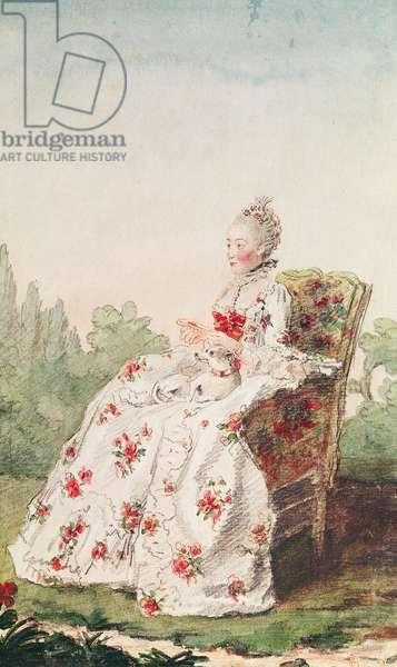 Madame de Boisandre, wife of the commandant of the hunt of the Duke of Orleans, c.1761  (pencil, w/c & gouache on paper)