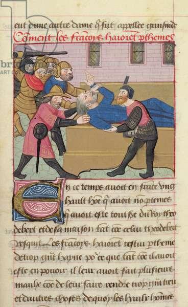 Ms 869/522 fol.40r The Franks kidnap Parthenes, one of King Theodebert's men, 1217-37 (vellum) Les Francais s'emparent de Parthene, homme du roi Theodebert; Theudebert I (c.500-c.548) Merovingian king of Austrasia 533-548; miniature from the Chronique des Rois de France, perhaps produced in Paris at the abbey of Saint-Germain des-Pres;