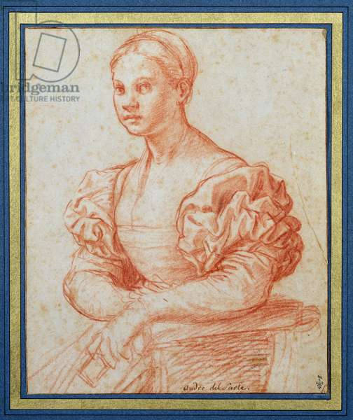 Portrait of a seated young woman, c.1525-30 (red chalk on paper)