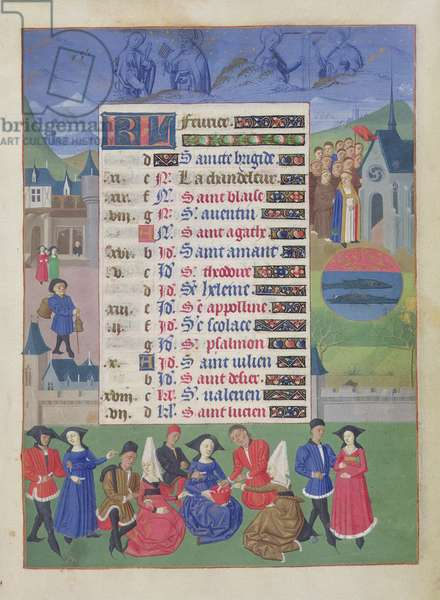 Ms 76/1362 fol.2r February: Courtly Games, from the 'Hours of the Duchess of Burgundy', c.1450 (vellum)