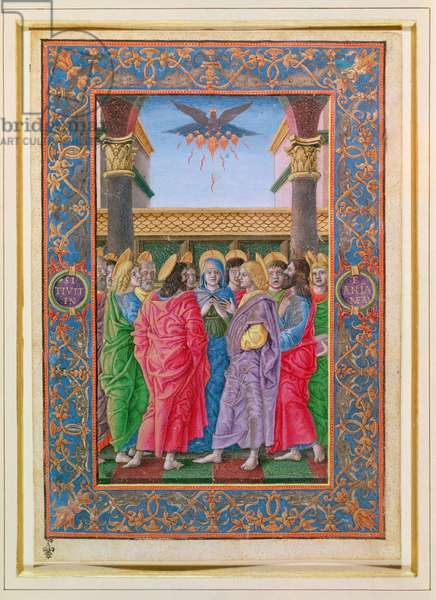 Pentecost, from a book of hours (vellum)