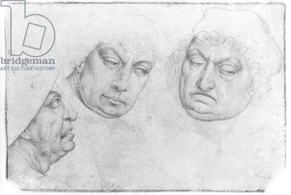 Three Men's Heads (pencil on paper) (recto) (b/w photo) (see 160139 for verso)