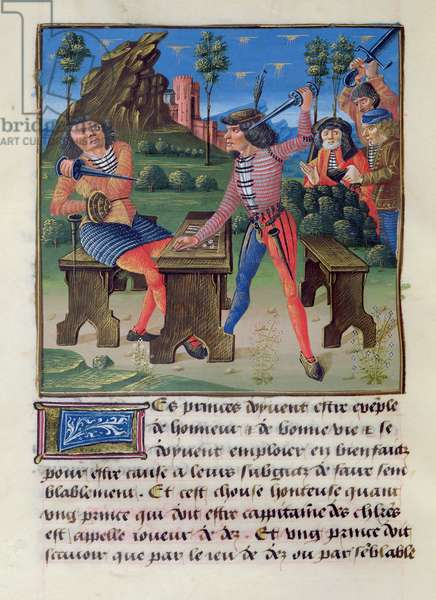 Ms 297/1338 f.91v The Argument, from the Book of Good Morals, by Jacques le Grant (1360-1415) (vellum)
