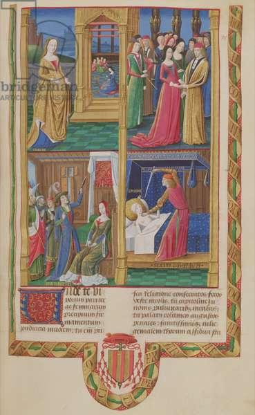 Ms 833-834/313-314 t.II fol.88r De Pudicitia, Lucretia, written by Valerius Maximus for Philippe de Commynes, from 'Dicta et Facta Memorabilia', c.1475 (vellum)