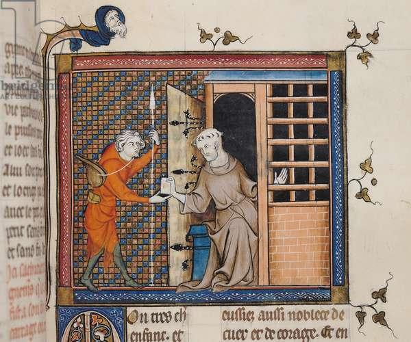 Ms 137/1687 fol.126r A monk giving a letter to a messenger, from Recueil de Traites de Devotion, 1371-78 (vellum)