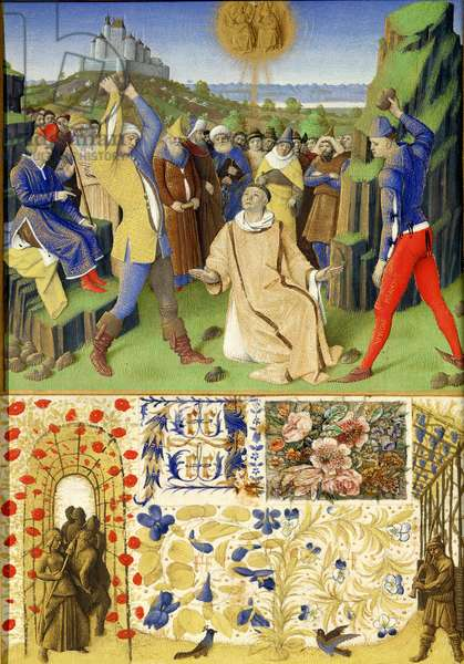 Ms Fr 71 fol.33 The Suffering of the Saints: The Martydom of St. Stephen, from the 'Heures d'Etienne Chevalier', c.1445 (vellum)
