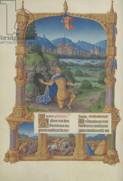 Ms. 65/1284 fol. 100v David in prayer, Très Riches Heures du Duc de Berry (vellum)
