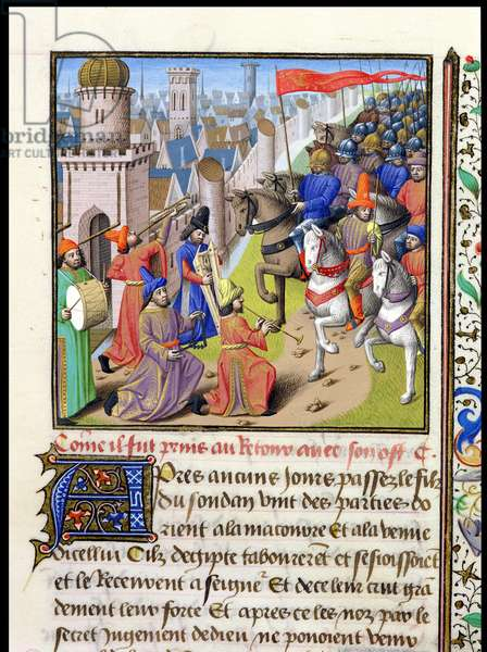 Ms 722/1196 f.496r Return of the Sultan, Conqueror of Louis IX (1214-70) in the Holy Land, from Le Miroir Historial, by Vincent de Beauvais (vellum)