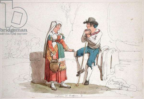 Peasant and Woman from Cervara, 1825 (w/c & pencil on paper)