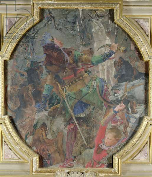 The Vision of St. Hubert (c.656-727) 1882 (mural)