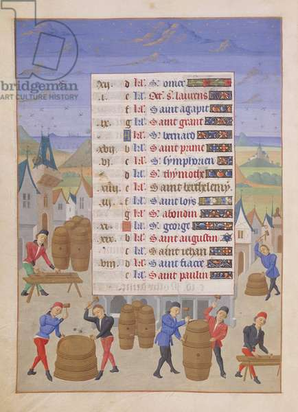 Ms 76/1362 Fol.8v Coopering in the Month of August,  from the 'Hours of the Duchess of Burgundy', c.1450 (vellum)