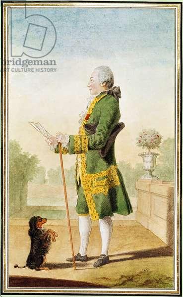 Monsieur de Boisandre, Master of the Hunt of the Duke of Orleans, 1764 (pencil, w/c & gouache on paper)