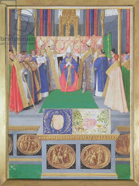 Ms Fr 71 fol.34 St. Nicholas ordained as the Bishop of Myra, from the Hours of Etienne Chevalier, c.1445 (vellum)