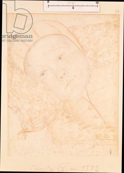 Child of Henri II (1519-59) and Catherine de Medici (1519-89) possibly Charles Maximilien (1550-74) Duke of Orleans, c.1550 (red chalk on paper)