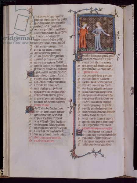 Ms 482/665 fol.59v Lucretia stabbing a dagger into her heart, from Le Roman de la Rose, le testament, by Jean de Meung, c.1370 (vellum)