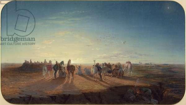 The Prayer in the Desert (pastel on paper)