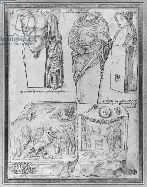 Five sketches from Antique (three busts of Mercury and two reliefs depicting the faces of an altar dedicaced to Lars) (b/w photo)