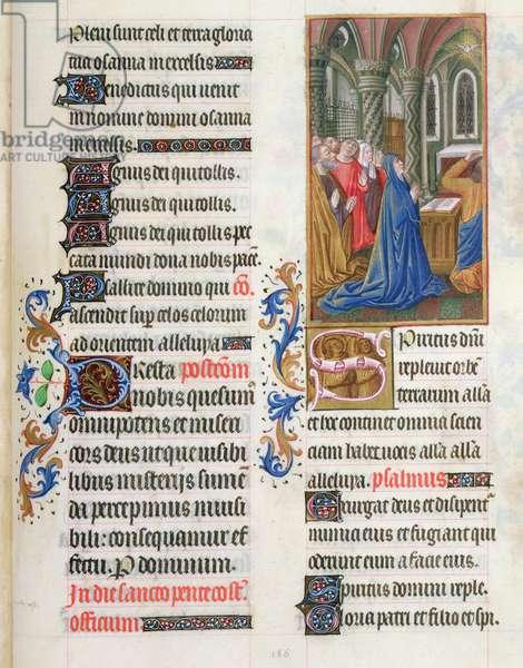 ms. 65/1284 fol. 186v, The Pentecost from the 'Très Riches Heures du duc de Berry' (vellum)