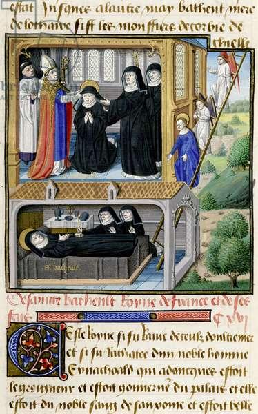Ms 722/1196 f.82r St. Bathild (d.680) from Le Miroir Historial, by Vincent de Beauvais (vellum)