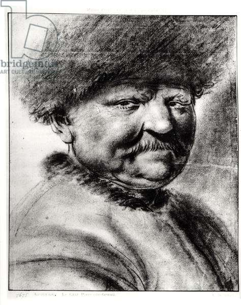 Portrait of a man, possibly Peter the Great (pencil on paper) (b/w photo)