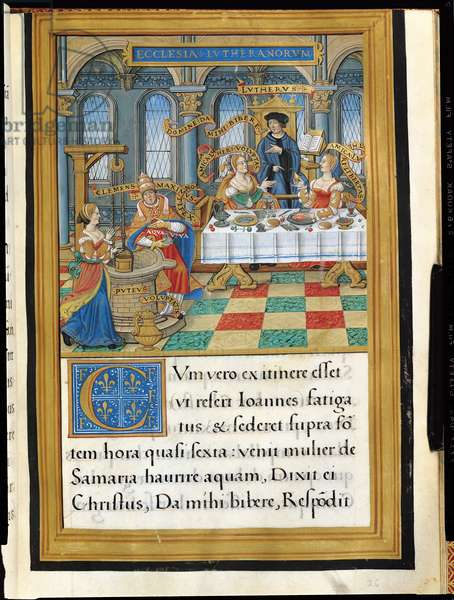 Ms 892/1485 Martin Luther (1483-1546) with Sensual Delight and Freedom and Pope Clement VII (1478-1534) with the Woman of Samaria at the Well, from the Panegyric of Francois I, 1531 (vellum)