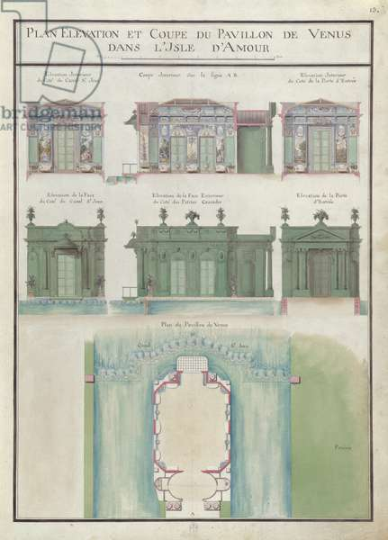 Plan, elevation and section of the Venue pavilion, on the Ile d'Amour, Chateau de Chantilly, 1784 (w/c on paper)