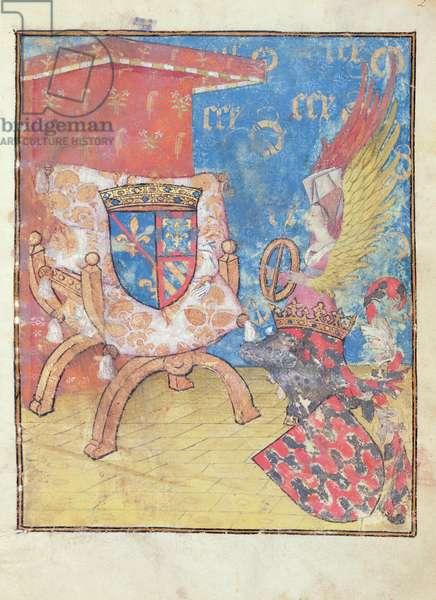 Ms 653/924 fol.2r Queen Sibylla (d.1190) before the shield of Agnes de Bourgogne (1407-76) Duchesse de Bourbon, from 'Le Paradis de la Reine Sibylle' by Antoine de la Sale (c.1386-c.1460) before 1456 (vellum)