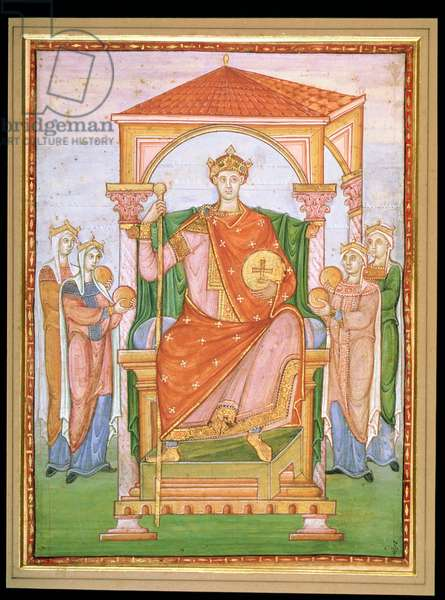 Ms 14 Otto II, Holy Roman Emperor (955-83) with the symbols of the four parts of his empire, from Registrum Gregorii, c.985 (vellum)