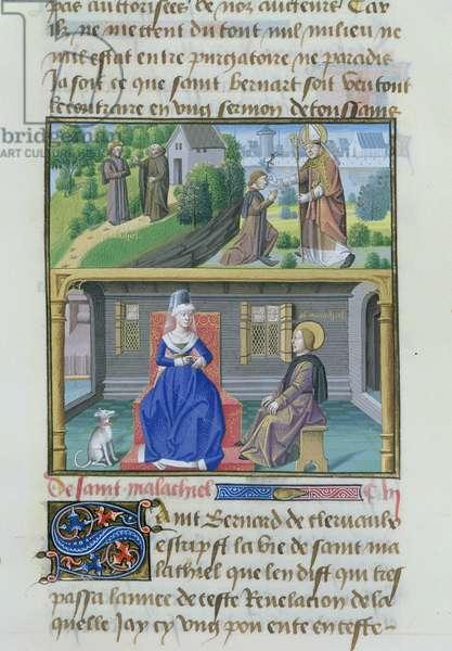 Ms 772/1196 fol.285r, St. Malachy, from Le Miroir Historial, by Vincent de Beauvais (vellum)