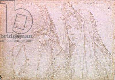 A Young Woman from Bergen-op-Zoom and a Young Woman from Goes, 1520 (silverpoint on paper)