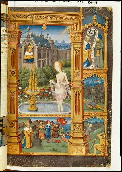 Ms 74/1099 f.61 David and Bathsheba, from 'Heures de Marguerite de Coetivy' (vellum)