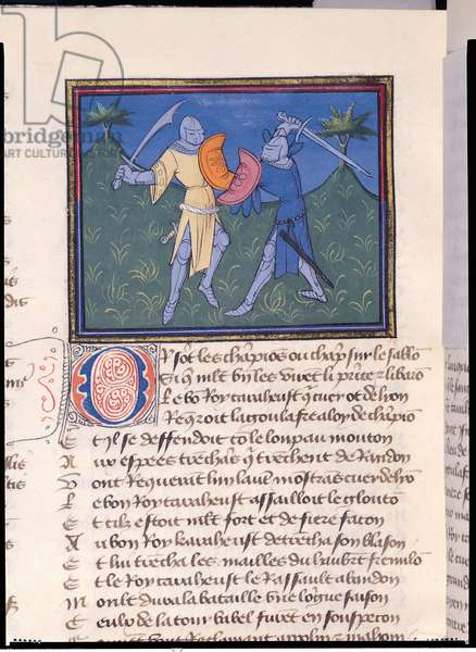 Ms 490/465 Fol.196v Two knights in combat, from the Story of Ogier the Dane (vellum)