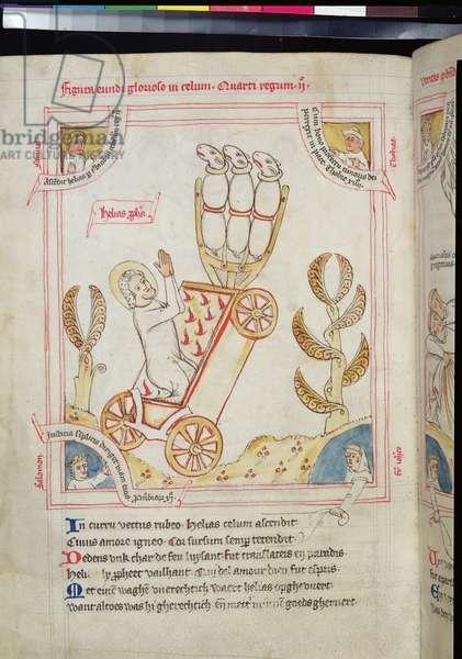 Ms 738/1401 fol.146v The Assumption of Elijah to Heaven, from 'Recueil d'Ecrits sur Saint Benoit' by Jean de Stavelot, 1432-37 (vellum)