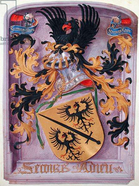 Ms 139/1363 fol.1 Coat of arms of the book's owner, from 'Le Miroir de l'Humaine Salvation' (vellum)