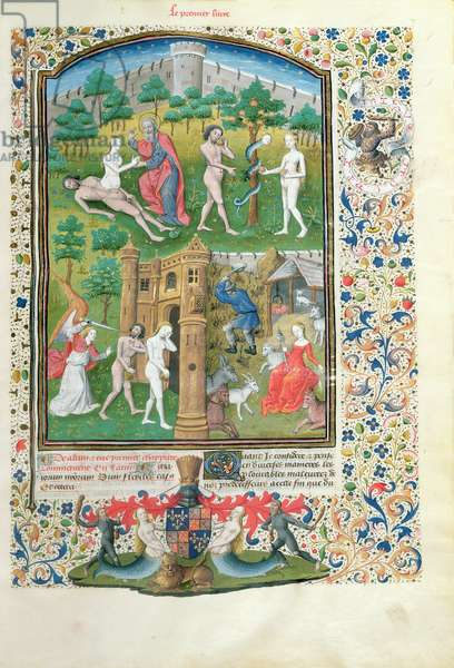 Ms 860/401 fol.7 The Story of Adam and Eve, detail from `Cas des Nobles Hommes et Femmes', by Giovanni Boccaccio (1313-75) translated by Laurent de Premierfait, 1465 (vellum) (see also 54820)