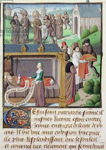 Ms 722/1196 fol.40v St. John the Almsgiver (c.550-c.616) from Le Miroir Historial, by Vincent de Beauvais (vellum)