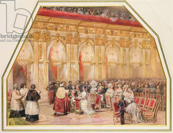 The Marriage of Ferdinand-Philippe (1810-42) duc d'Orleans and Helene-Louise de Mecklembourg (1814-58) in the Grand Chapel of Fontainebleau, 1837 (w/c on paper)