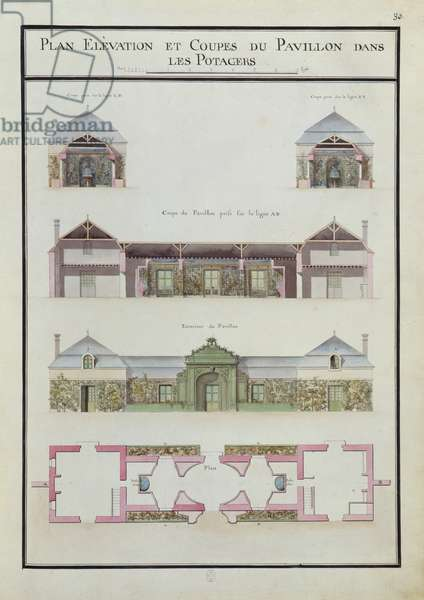 Pavilion in the vegetable patches, Château de Chantilly, Fol. 30, Atlas du Comte du Nord, 1784 (ink & w/c on paper)