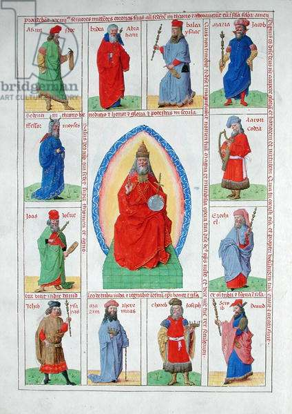 Ms 724/1596 fol.10v God the Father in Glory with the Prophets, from 'Liber Floridus' by Lambert de Saint-Omer, c.1448 (vellum)