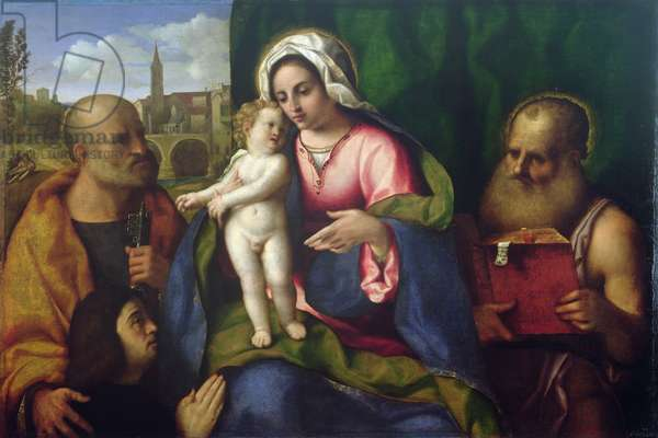 Virgin and Child with St. Peter, St. Jerome and a Donor (oil on canvas)